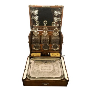 Antique English Oak Games Box Tantalus With Game Pieces, Cut Crystal Decanters and Cordial Glasses, Silver Coasters and Tray, Circa 1880. For Sale