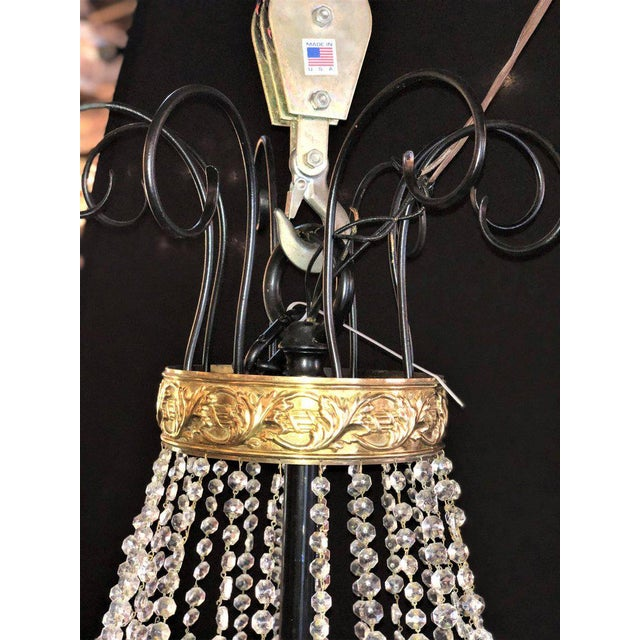 1930s A Pair of Art Deco Palatial Eight Arm Ebony and Brass Chandeliers w Shades For Sale - Image 5 of 12