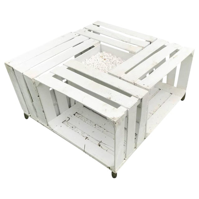 Handmade Outdoor Pallet Wood White & Gravel Center Table - Image 1 of 7