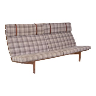 1950s Vintage Erik Ole Jorgensen Oak and Upholstered Bench For Sale