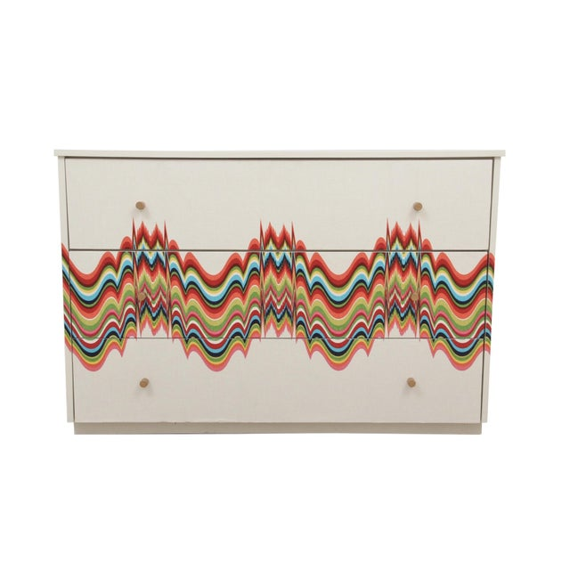White 1960s Boho Chic Dresser Wrapped in Technicolor Fabric For Sale - Image 8 of 8
