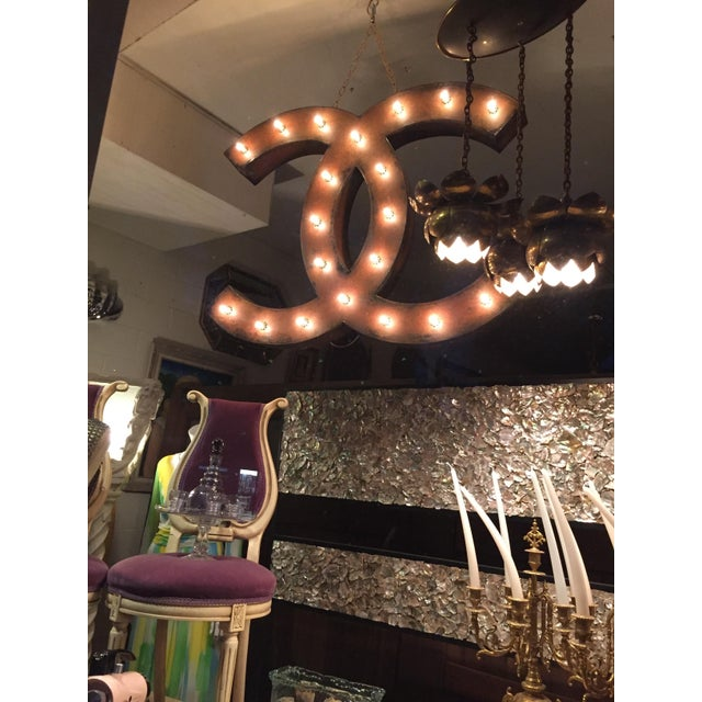 Up-Cycled Chanel Lighted Signage For Sale - Image 5 of 11