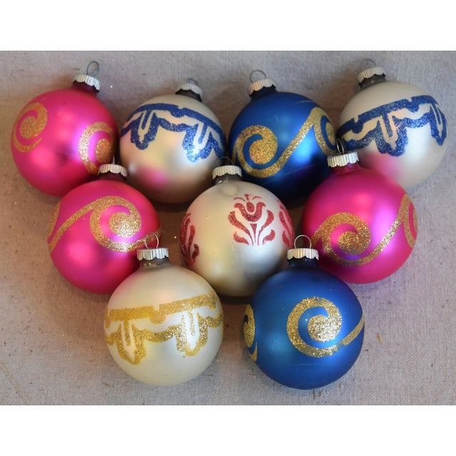 Cardboard Vintage Colorful Christmas Ornaments W/Box - Set of 9 For Sale - Image 7 of 8
