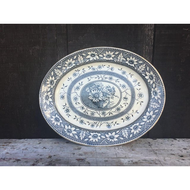 Country 1883 Palmyra Blue Transferware Platter For Sale - Image 3 of 7