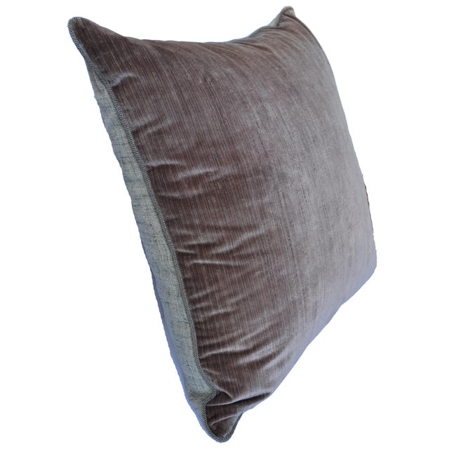 2010s Scalamandré 100% Silk Velvet Mauve Strie Pillow For Sale - Image 5 of 10