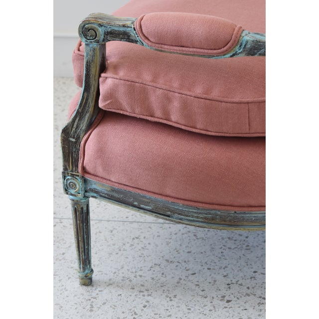 Rose Linen Upholstered Turquoise and Gold Gilt Accented Settee Loveseat For Sale - Image 10 of 13