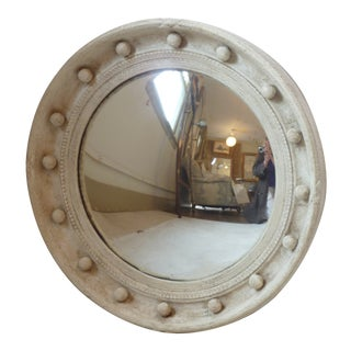 Whitewashed Distressed Convex Mirror For Sale