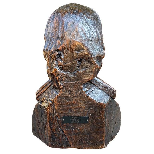 Carved Oak Bust of a Gentleman Possibly Charles I For Sale - Image 4 of 6