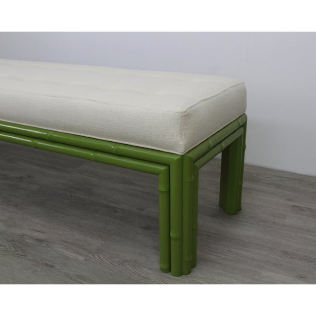 Faux Bamboo Mid-Century Apple Green Faux Bamboo Bench For Sale - Image 7 of 9