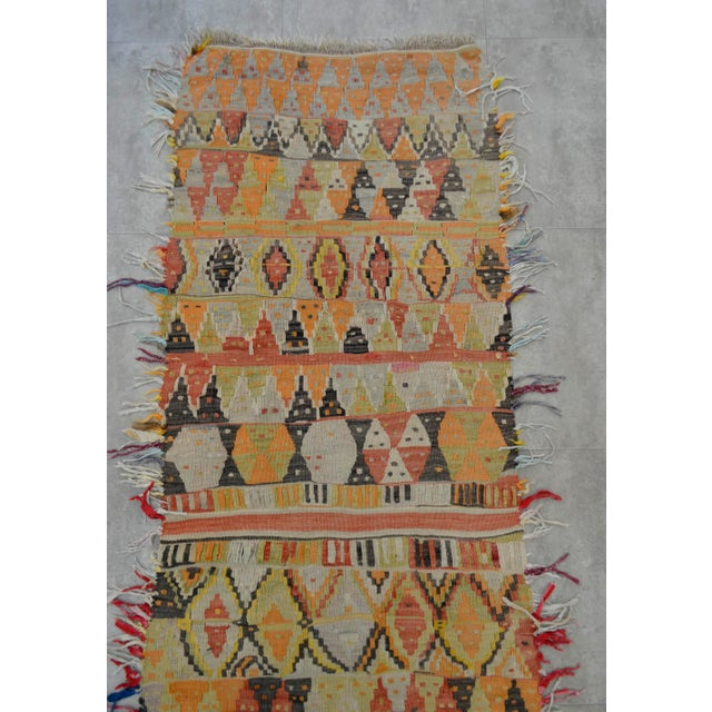 Cotton Antique Handmade Turkish Tribal Runner - 2′6″ X 13′2″ For Sale - Image 7 of 10