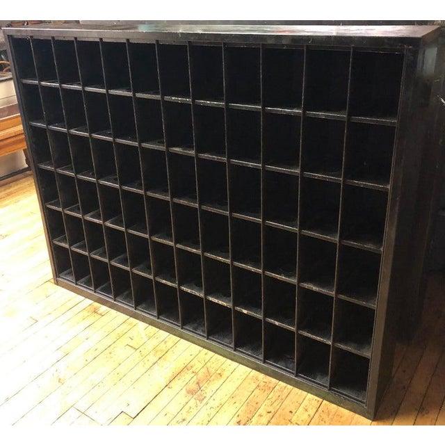 Industrial Storage Cabinet of Painted Steel as Wine Rack, Dvd, CD Storage, 72 Cubbies For Sale - Image 3 of 13