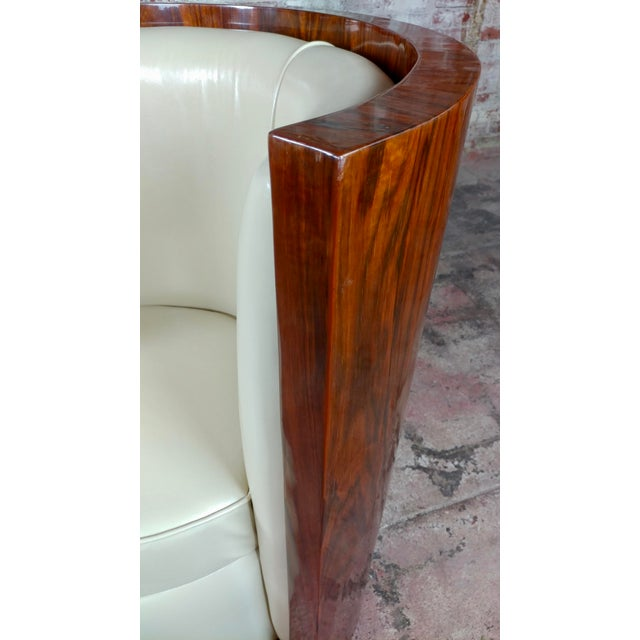 1930s Art Deco Fabulous Burl Walnut Barrel Chairs W/White Leather Seats-A Pair For Sale - Image 5 of 10