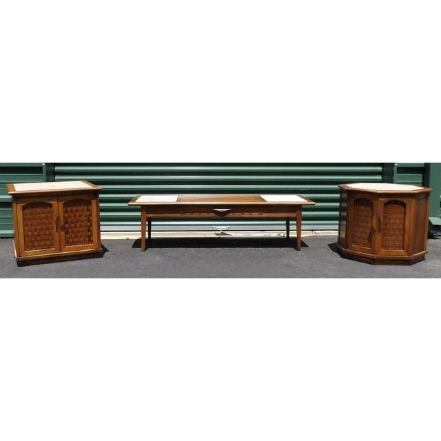 Beautiful set. Original 1960's era Maple and Marble Brutalist Lane Coffee Table and End Table Matching Set. The Coffee...