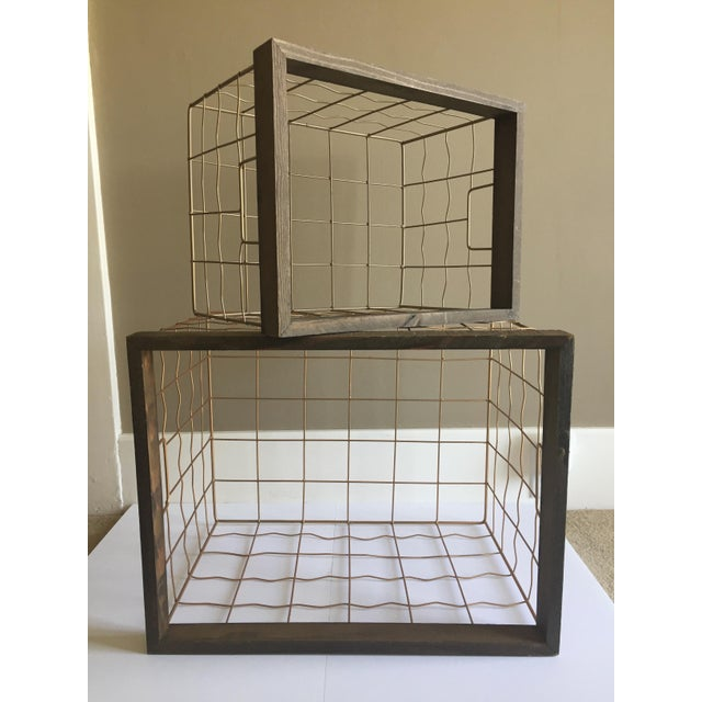 Brass & Wood Wire Baskets - A Pair - Image 2 of 6