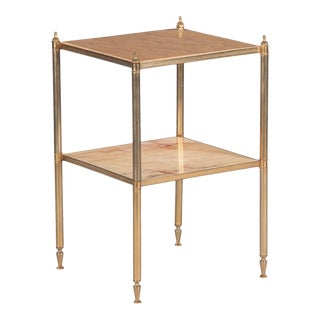 1950s French Two-Tier Brass Side Table With Onyx Top For Sale