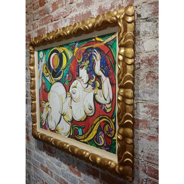 Canvas Sheldon C Schoenberg - Le Femme d'Alger - 1960s Cubist Oil Painting For Sale - Image 7 of 9