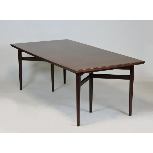 Arne Vodder Arne Vodder Expandable Danish Modern Rosewood Dining Conference Table Model 201 For Sale - Image 4 of 13