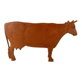 Country Wooden Cow Cut Out Sign For Sale