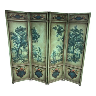 French 4-Panel Hand-Painted Wood Dressing Screen Room Divider For Sale