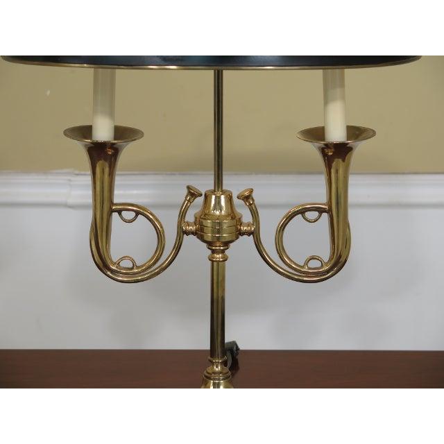 Brass Double Candelabra Trumpet Arm Desk Lamp For Sale - Image 4 of 9
