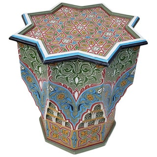Moroccan Ceuta Painted and Carved Star Table For Sale