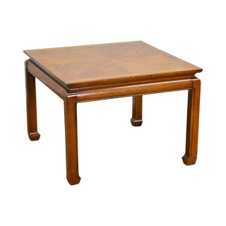 Heritage Vintage Asian Inspired Square Walnut Side Table For Sale