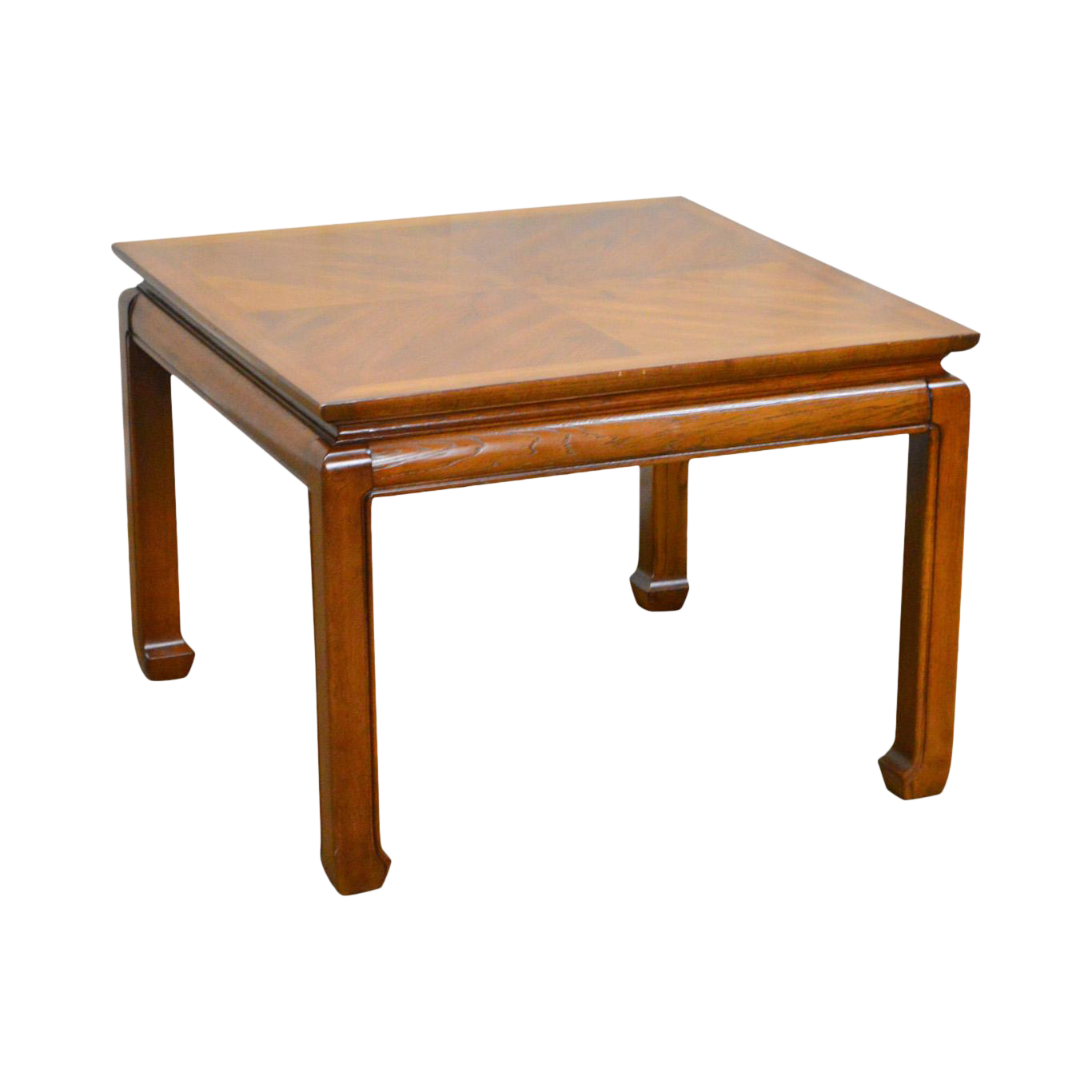 Heritage Vintage Asian Inspired Square Walnut Side Table