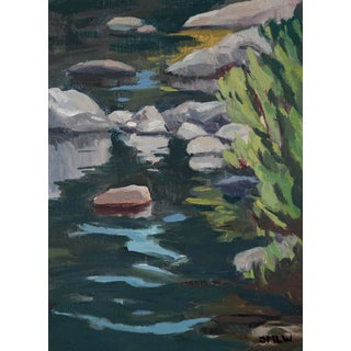 """River Ripples (Tahoe)"" Original Oil Landscape Painting by Jenny Wantuch For Sale"