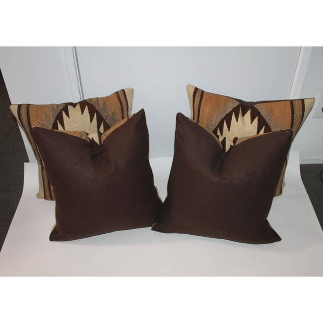 Native American Early Transitional Navajo Indian Weaving Pillows For Sale - Image 3 of 7