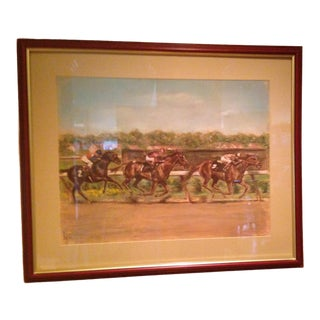 Louis Lupas Signed Original Pastel Horse Race One of a Kind For Sale