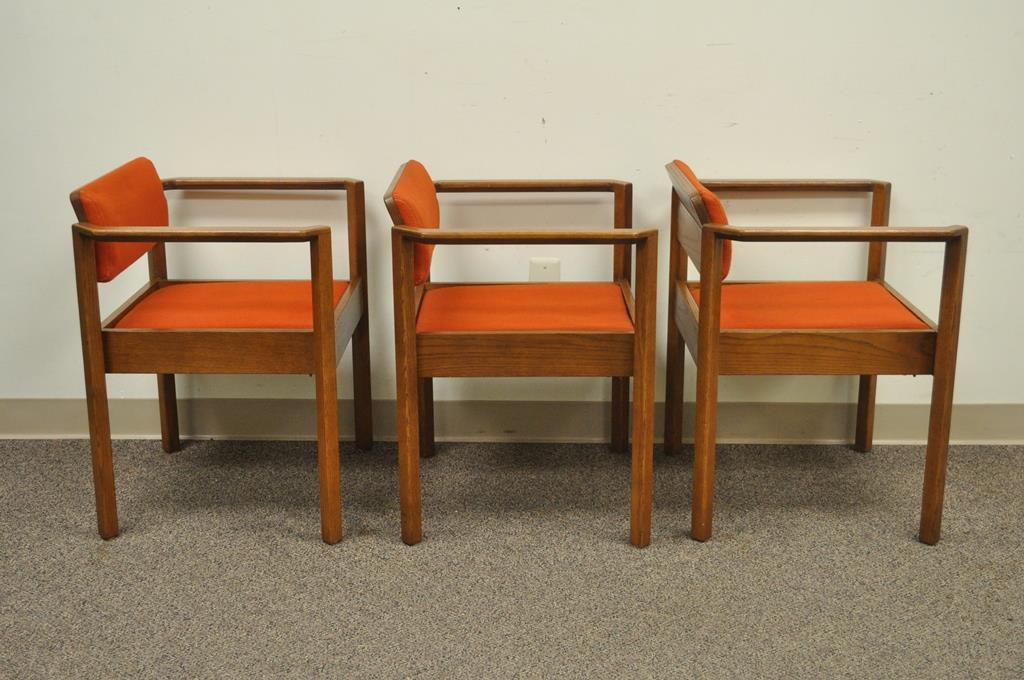 3 Vintage Kimball Mid Century Modern Oak Stacking Dining Arm Chairs Danish  Style For Sale