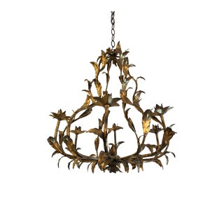 Italian Vintage Gilt Iron & Tole Candle Chandelier For Sale