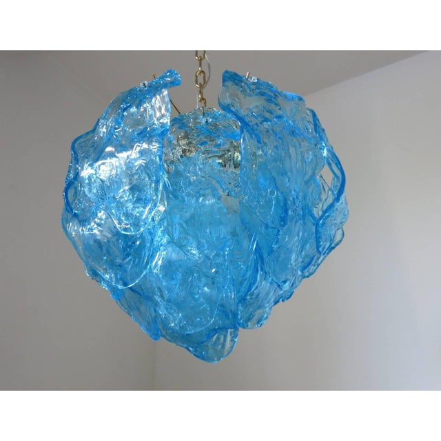 Italian Italian Blue Murano Glass Leaves Chandelier by Mazzega For Sale - Image 3 of 5
