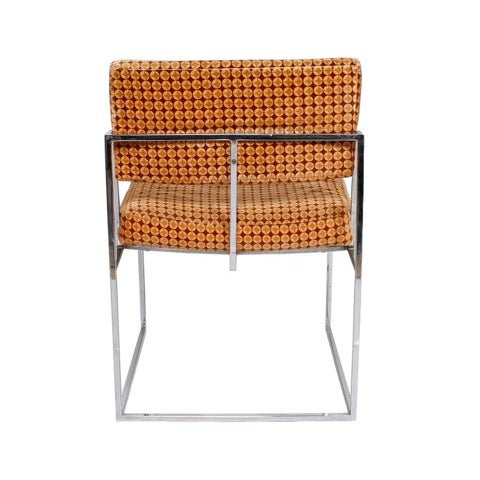 Thayer Coggin Upholstered Chrome Chairs - A Pair - Image 4 of 9