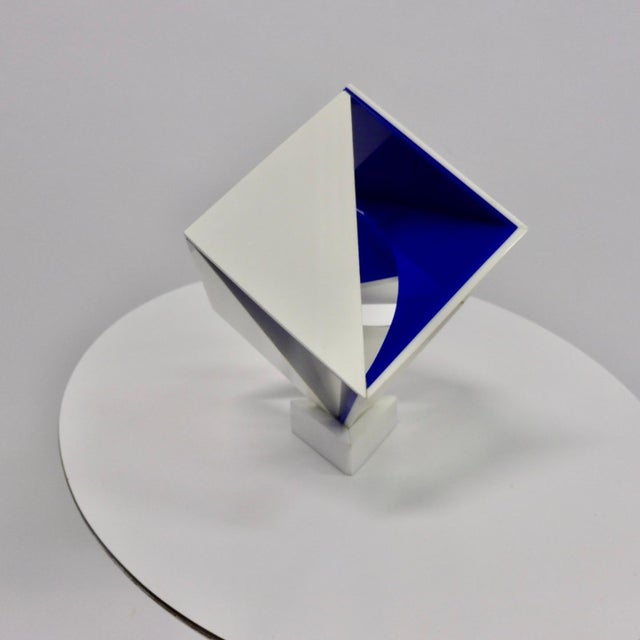 Acrylic Blue and White Desk Top Lucite Cube Geometric Sculpture For Sale - Image 7 of 10