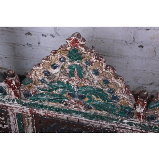 18th Century Ornate Carved Indian Jhula Bench Swing For Sale - Image 9 of 13