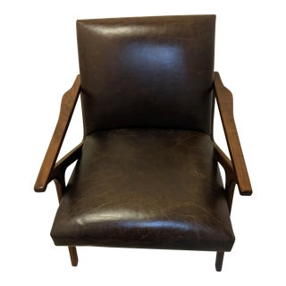 Crate & Barrel Leather Director Chair For Sale