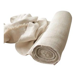 "Antique 1800s Nubby Herringbone Pale Heavy Linen Homespun Fabric - 14 Yards x 23"" For Sale"