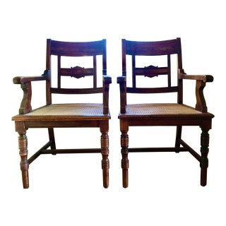 Early 20th Century Antique Walnut Arm Chairs With Burled Inlay and Caned Seats - a Pair For Sale