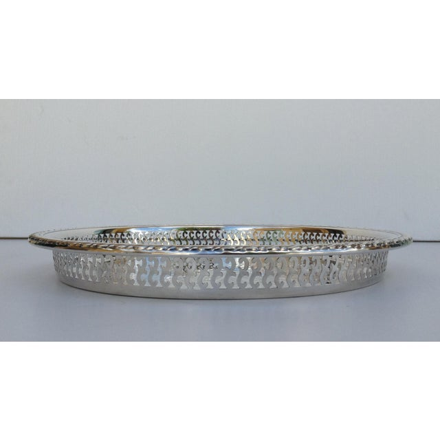 1970s Silverplate Pierced Large Celtic Server Tray or Platter For Sale - Image 5 of 10