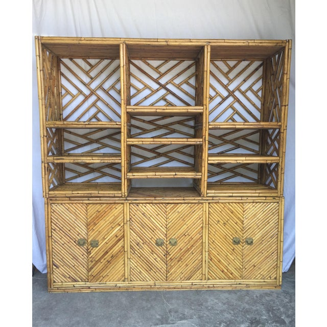 Amazing one-of-a-kind split bamboo credenza with diagonal geometric design and display cabinet top. Two pieces. Split...