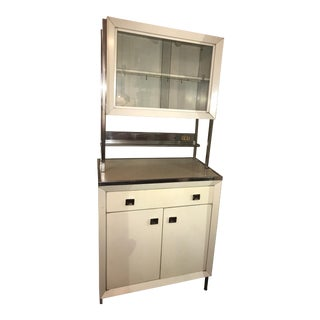 Vintage Kitchen 1950s Atomic Mid-Century Modern White Metal Hutch Cabinet