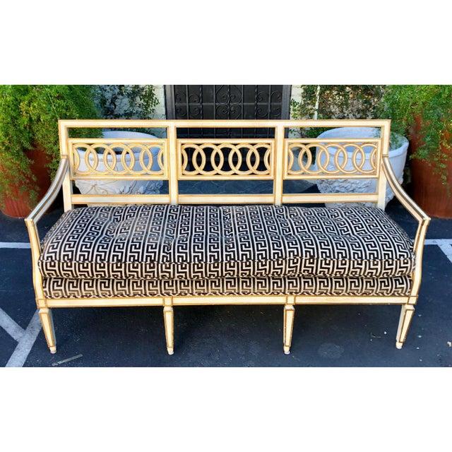 Hollywood Regency Spectacular Hollywood Regency Style Sofa Settee W Greek Key Cut Velvet For Sale - Image 3 of 8