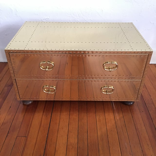 In immaculate condition this Sarreid LTD Brass 2 Drawer Trunk or Coffee Table is in excellent condition. No damage to...