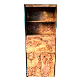 Mid-Century Burl & Chrome Front Cabinet Bar in the Style of Milo Baughman For Sale