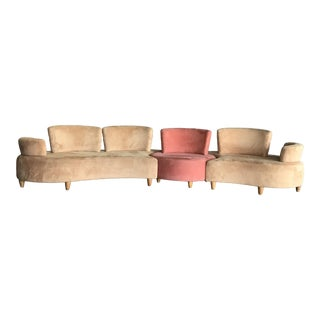 1990s Vintage Normand Couture Retro Modular 3 Piece Sectional For Sale