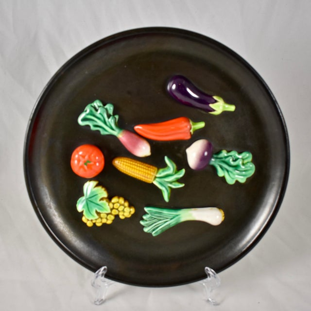 A.Martin Vallauris French Provençal Palissy Trompe L'oeil Vegetable Wall Plate For Sale - Image 9 of 9