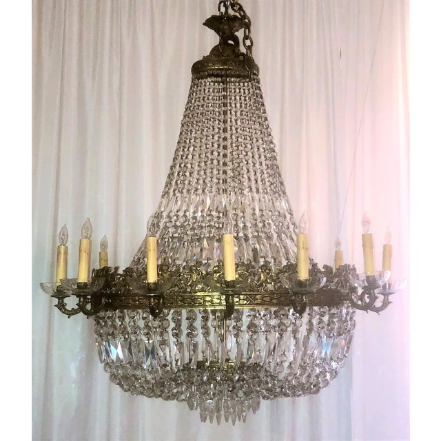 Belle Epoque Antique French Bronze d'Ore and Crystal Chandelier, Circa 1880. For Sale - Image 3 of 3