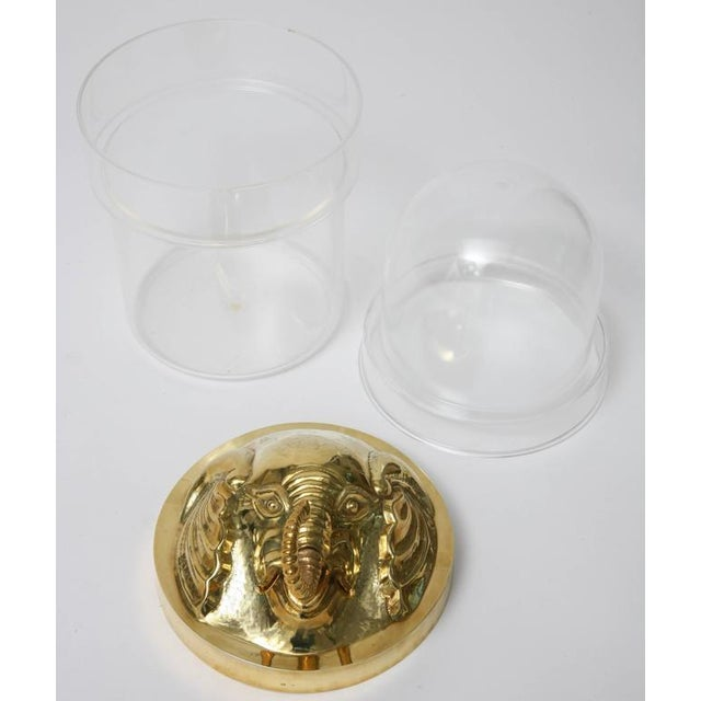 Arthur Court Style, Hollywood Regency, Lucite Ice Bucket, Brass Elephant Head For Sale - Image 4 of 11