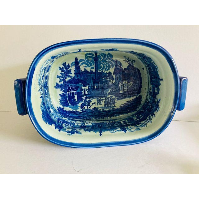 English Modern Victorian Style Large Blue & White Porcelain Victoria Ware Ironstone Planter For Sale - Image 3 of 7